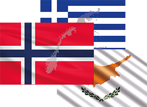 Flagg Norge Kypros Hellas